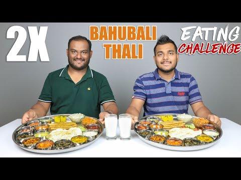 2 X BAHUBALI THALI EATING CHALLENGE   Veg Thali Eating Competition   Food Challenge