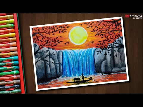 Sunset Waterfall 2 Drawing With Oil Pastels Step By Step Action
