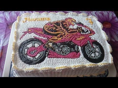 Как раскрасить мотоцикл в виде декора для торта