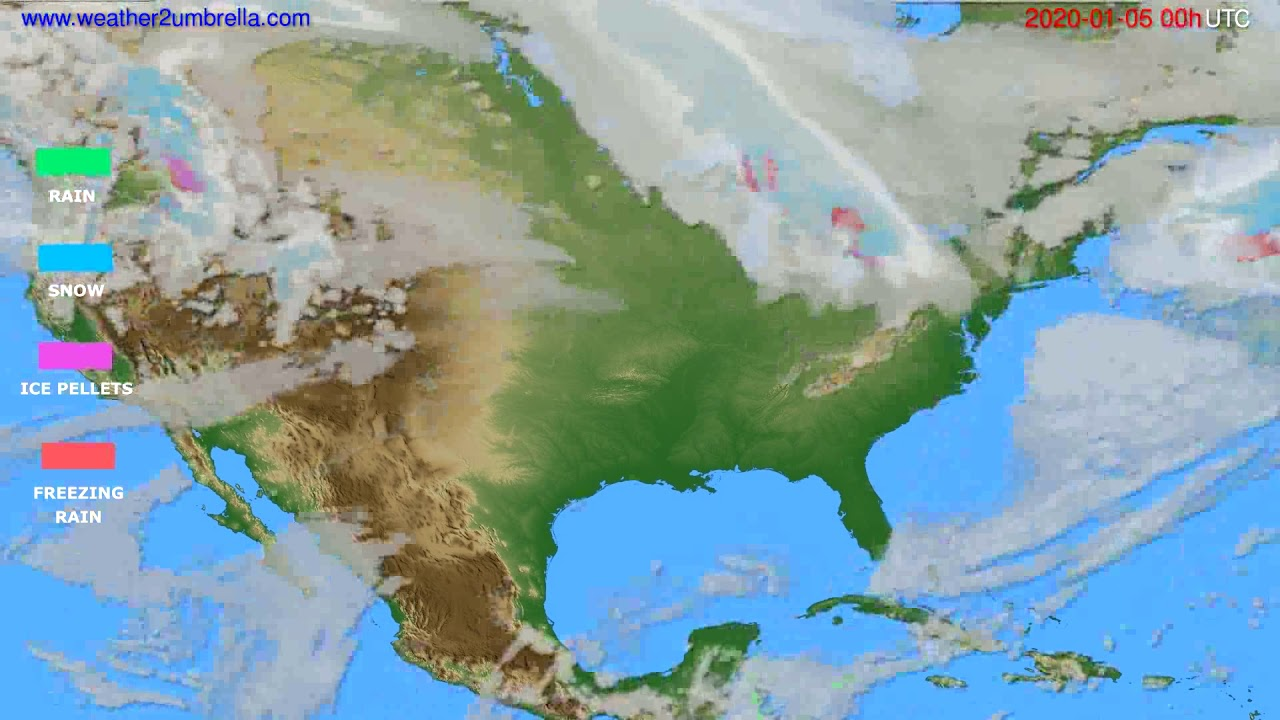 Precipitation forecast USA & Canada // modelrun: 00h UTC 2020-01-05