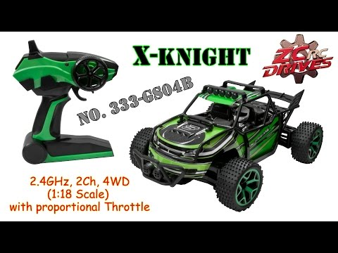 ZC RC 333-GS04B X-Knight 2.4GHz, 2Ch, 4WD, (1:18 Scale) RC Car with proportional Throttle (RTR)