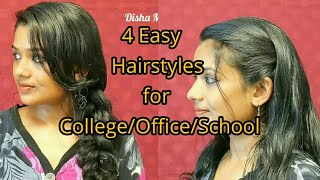 4 Quick Everyday hairstyles for college/office/school|Hairstyles for medium to long hair||Malayalam