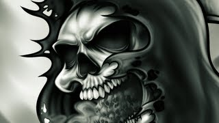 Drawing A Grim Reaper, Drawing And Painting A Grim Reaper Skull Tattoo, Step By Step