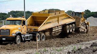 Cat D8T Bulldozer Lifts Trailer of Belly Dump | D8T Dozer Pushing Fill
