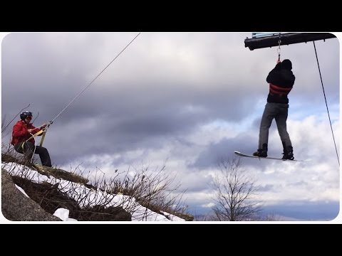 While snowboarding at Beech Mountain in North Carolina, Travis and Ryan ended up getting stuck on a lift and had to be rescued from the lift. Would you freak out in this situation?