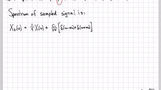 "The previous video outlined the general theory of sampling a continuous-time signal with a ""practical"" pulsed waveform.  This video works through a specific example of this theory where we sampling a sinc-squared function in the time domain by multiplying with a rectangular pulsed sampling waveform pT(t).  We compute and plot the final spectrum of the sampled signal."