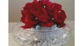 DIY| SPARKLE GLASS ROSE BLING DECOR / WEDDING, SOME DOLLAR TREE ITEMS