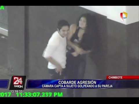 Chimbote: cámara capta a hombre agrediendo a su enamorada en plena calle
