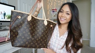 What S In My Bag Louis Vuitton Neverfull Mm Damier Azur Samye