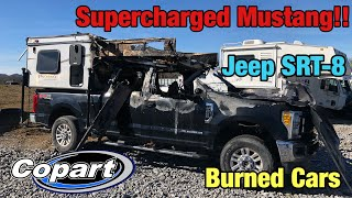 looking At Burned, Wrecked 2017 Supercharged Ford Mustang GT, SRT--8 At Copart Salvage Auction
