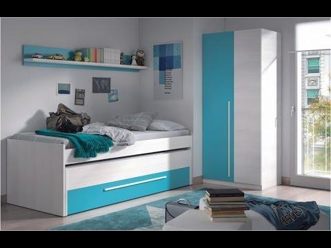 Pack de Cama nido (2 camas + cajon) con estante y armario Juvenil, color blanco combinado con azul.