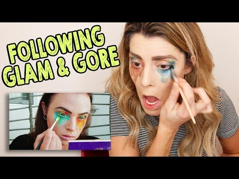 I TRIED FOLLOWING A GLAM & GORE MAKEUP TUTORIAL // Grace Helbig