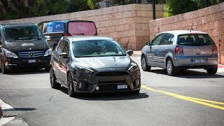 LOUD Ford Focus RS w/ AWE Exhaust - Accelerations, Revs & Crackles !