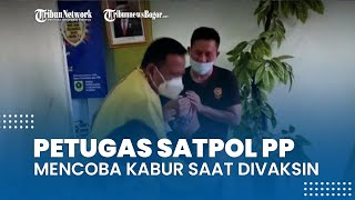 Petugas Satpol PP Mencoba Kabur saat Divaksin Covid-19, Meronta-ronta Takut Jarum Suntik