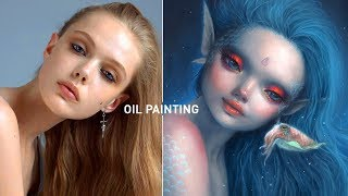FANTASY MERMAID 🧜♀️ OIL PAINTING DEMO + How I Use References!