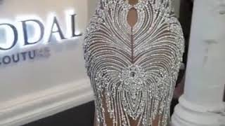 Luxury Crystals Mermaid Wedding Dresses | V-Neck Backless Champagne Bridal Gowns