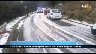 preview picture of video 'Una espectacular pedregada deixa ben blanc Bigues i Riells'