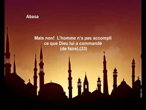 سورة عبس  - الشيخ / محمد صديق المنشاوي - ترجمة فرنسية