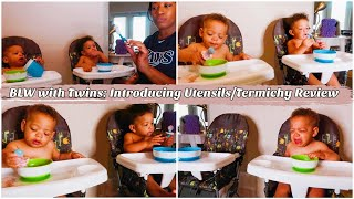 Introducing Utensils//BLW with TWINS//Termichy Baby Utensils Review//DITL