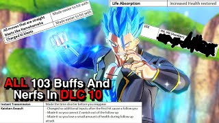 ALL 103 Buffs And Nerfs In DLC 10 Update For Dragon Ball Xenoverse 2
