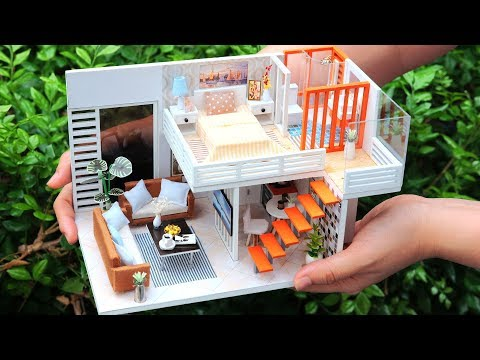 DIY Miniature Dollhouse Kit || Simple & Elegance ( With Furniture & Light )