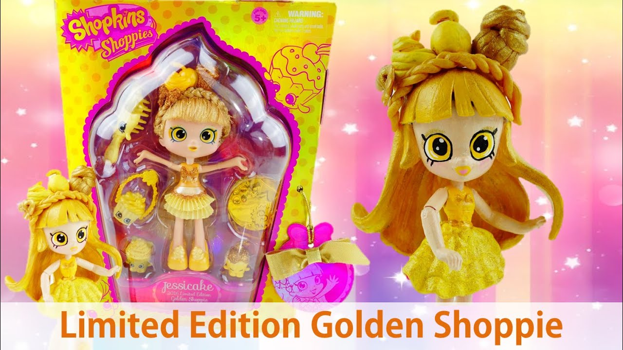 Shopkins Jessicake SDCC 2016 Limited Edition Golden Shoppie Doll - Review and Custom Doll Tutorial