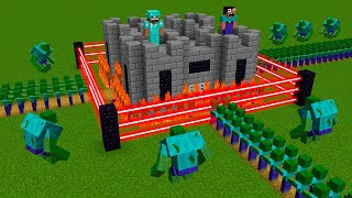 Minecraft NOOB vs PRO battle: ZOMBIE ATTACK THE SUPER BASE HOUSE!