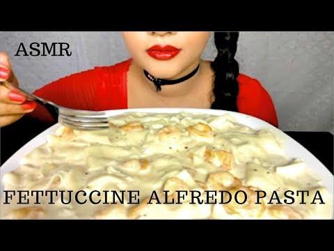ASMR:VERY CREAMY FETTUCCINE ALFREDO MUKBANG 먹방 스파게티 SHRIMP PASTA *BIG BITES* EATING SOUNDS