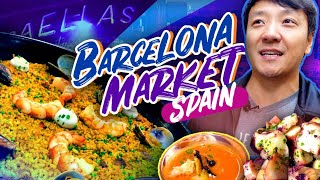 SPANISH BRUNCH at BEST FOOD MARKET in Spain! La Boqueria Market in Barcelona Spain
