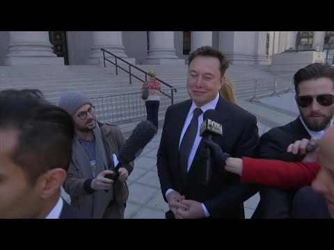 "Tesla's CEO Elon Musk said he has ""great respect for the justice system"" before heading into a federal court hearing in Manhattan Thursday. (April 4)"