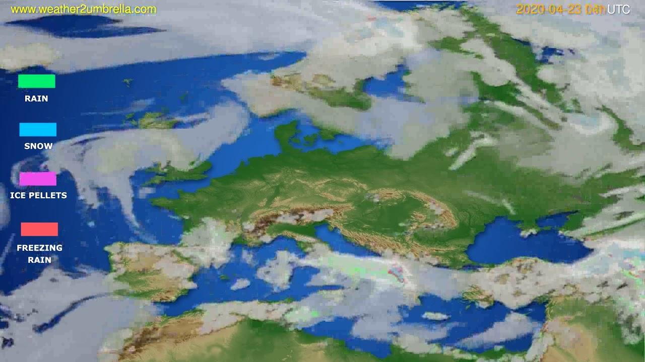 Precipitation forecast Europe // modelrun: 12h UTC 2020-04-22