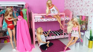 Four Barbie Dolls  Morning Bedroom Bunkbed Routine. Life In A Dreamhouse DIY Mini Doll House.