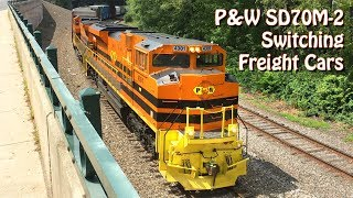 Providence & Worcester SD70M-2 NR-4 Switching Cars with Squealing Brakes and Slack Action