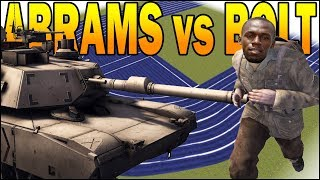 FASTEST HUMAN USAIN BOLT vs ABRAMS TANK - 200 Meters - MoW Assault Squad 2 - Mini Scenario #38