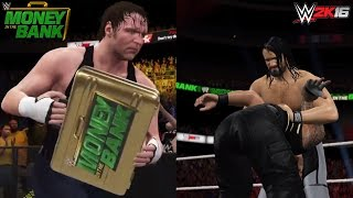 WWE 2K16: Money in the Bank 2016 - Roman Reigns vs Seth Rollins (Dean Ambrose Cashes in the MITB)