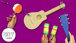 4 MUSICAL INSTRUMENTS You Can Make At Home | Fast-n-Easy | DIY Labs