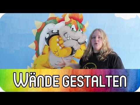 Techniken Wandgestaltung: Super Mario Wand - Farbverläufe, Raster, Schablonen, Beamer | kreativBUNT