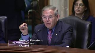 Menendez Criticizes Lack of Strategy in North Korea, Questions Pompeo on AUMF