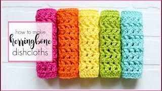 Simple Crochet Dishcloth, Herringbone Pattern