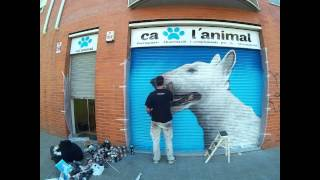 Graffiti perro Bull Terrier en persiana