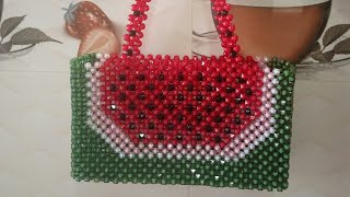 পুতির তরমুজ ব্যাগ।DIY how to make beaded bag.