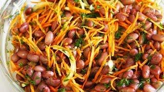 Салат из фасоли Вкусный постный салат
