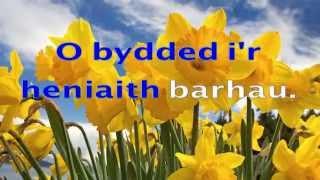 Welsh National Anthem with lyrics in Welsh (instrumental) HD