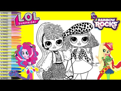 LOL Surprise O.M.G Dolls Repainted as My Little Pony Rainbow Rocks Pinkie Pie Applejack MLP