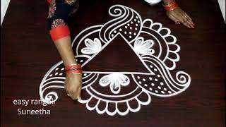 Simple N Free Hand Kolam    Easy Rangoli  By Suneetha    New Muggulu Designs