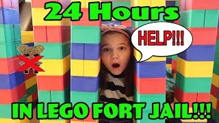 24 Hours In Giant Lego Fort Jail! 24 Hours With No Lol Dolls