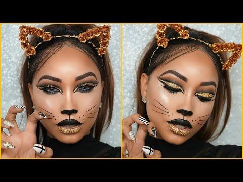 une touche glamour son maquillage femme halloween laide dun fard  paupires en tons dors celuici peut tre remplac par une autre with maquillage  chat