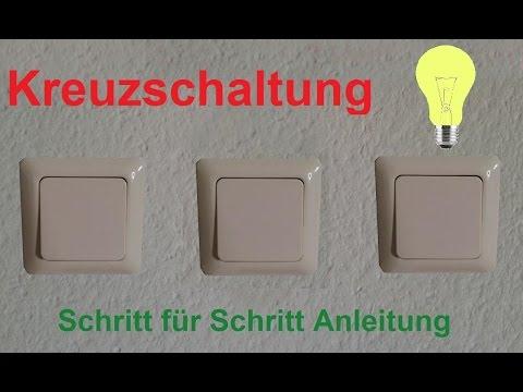 Elektroinstallation: Kreuzschaltung verdrahten / anklemmen / anschließen - Kreuzschalter Anleitung