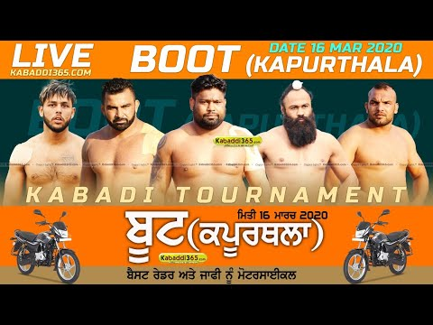 Boot (Kapurthala) Kabaddi Tournament 16 Mar 2020