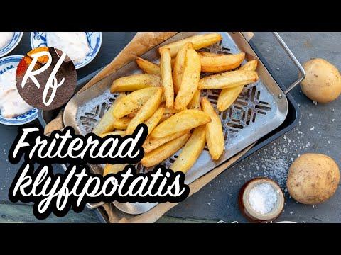 Friterad klyftpotatis eller Idahopotatis. Stora klyftor av stora potatisar eller bakpotatis som friteras gyllene med eller utan skal.>